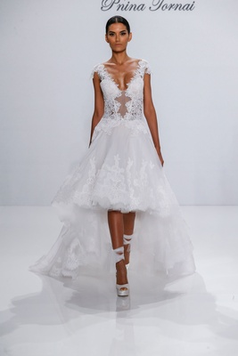 Pnina Tornai for Kleinfeld 2017 Dimensions Collection high low organza wedding dress sheer bodice