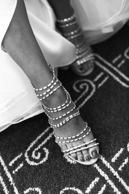 Black and white photo of Indian crystal sandals