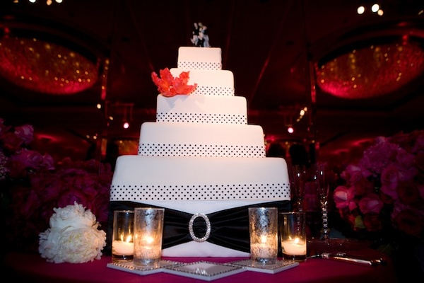 Square layer wedding cake with polka dot ribbon