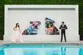 bride in le spose di gio blush gown groom in black suit, london west hollywood rooftop pool,