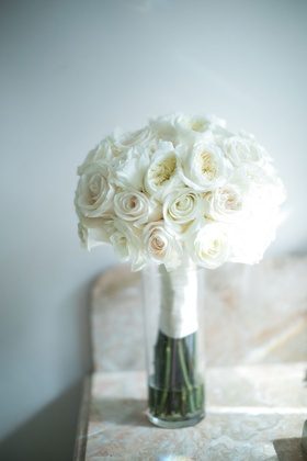 wedding bouquet white rose and garden rose flowers with ribbon wrap