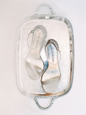 wedding accessories stuart weitzman wedding shoes bridal heels silver glitter sandals ankle strap