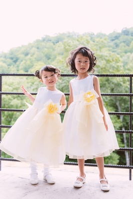 Chinese flower girls in tea-length gowns
