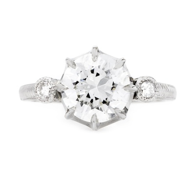 claire pettibone and trumpet and horn equinox engagement ring, round diamond, bezel side stones