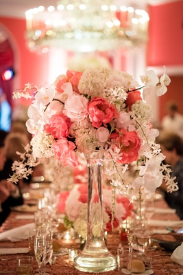 ivory blush arrangement clear vase wedding reception feminine cascading decor greenbrier