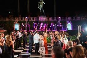 outdoor wedding reception black-and-white checkered dance floor