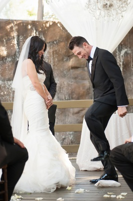 breaking of the glass at interfaith ceremony, bride in vera wang
