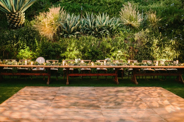 wedding reception dance floor long head table houdini estate low centerpiece flower runner greenery