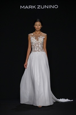 Mark Zunino for Kleinfeld 2016 flower illusion bodice with silk chiffon skirt