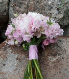 Pink peony flowers in bridal bouquet with stems