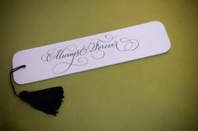 Fan style wedding program with black tassel
