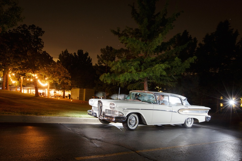 Classic white car parked at Southern Hills Country Club, Tulsa, OK