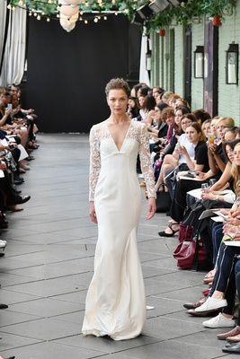 40afaccf6d Nouvelle Amsale spring 2019 bridal collection wedding dress Juliana long  sleeve crepe gown.