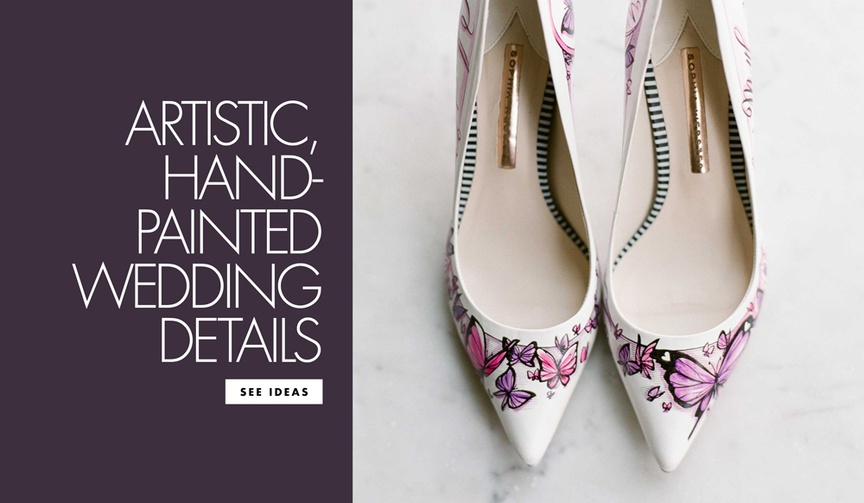 Artistic hand painted wedding details to include in your wedding day invitations decor shoes attire