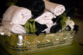Wedding favor fabric wraps for female guests