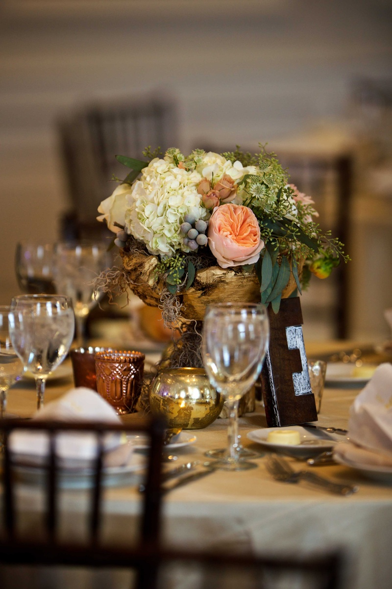 Reception décor photos gold rustic centerpiece with