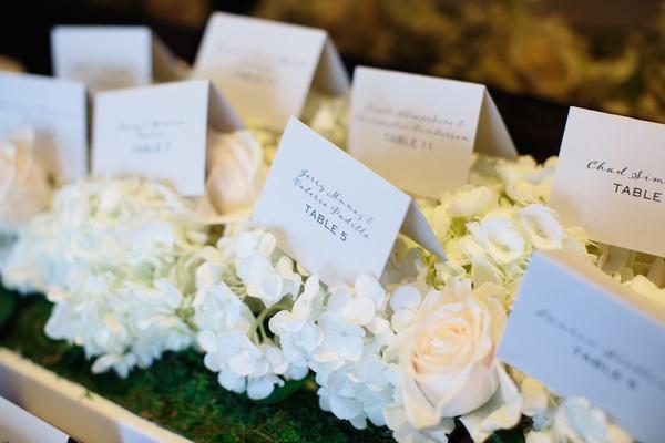 White wedding place cards on white hydrangeas, blush roses