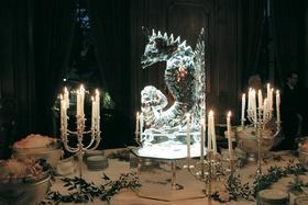 Seahorse ice sculpture on mirror stand