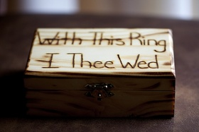 """Wood jewelry box carved """"With This Ring, I Thee Wed"""""""