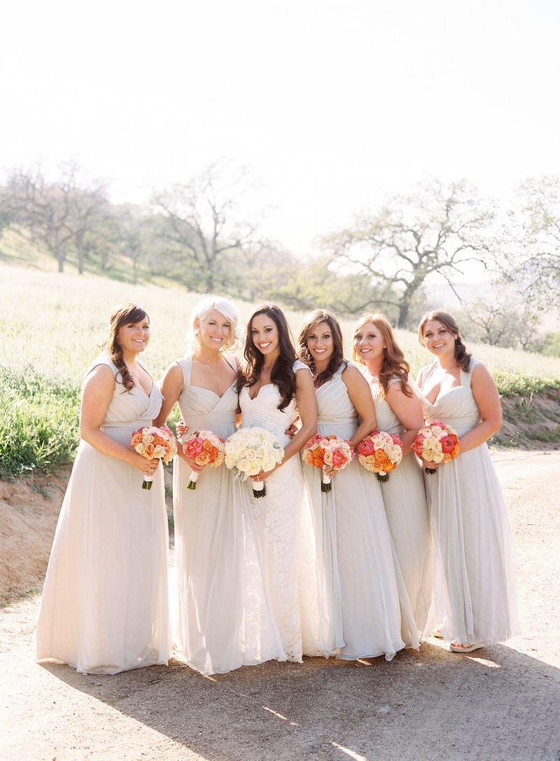 Brides bridesmaids photos neutral bridesmaid dresses inside bride in white dress with bridesmaids in off white gowns ombrellifo Images