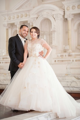 Mon Amie Bridal Salon creative director wedding portrait in Lazaro wedding dress