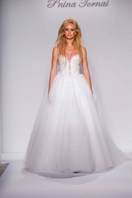 Pnina Tornai for Kleinfeld 2016 ball gown with beaded strapless bodice