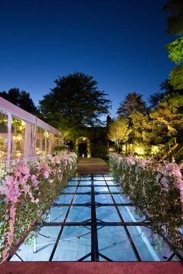 Outdoor reception entrance over Plexiglas pool cover