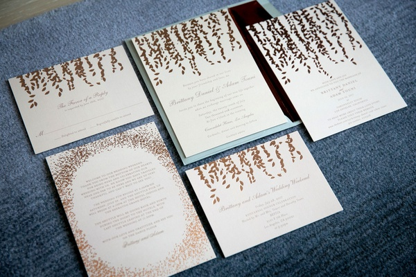 Wedding invites from minted copper foil rose gold paper goods with hanging motif suspended vines