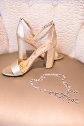 champagne bridal sandals think heel ankle strap