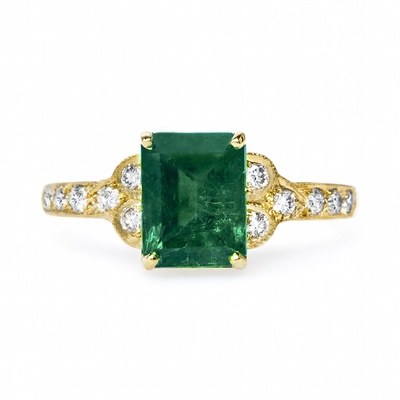 Claire Pettibone x Trumpet & Horn Marcelle engagement ring with emerald