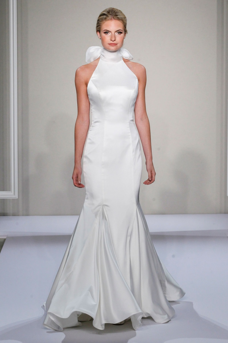 Dennis Basso 2016 satin mermaid wedding dress with high collar and bow