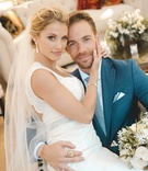 Jenna Reeves and Plain White T's guitarist singer Tim Lopez wedding portrait big day dress suit