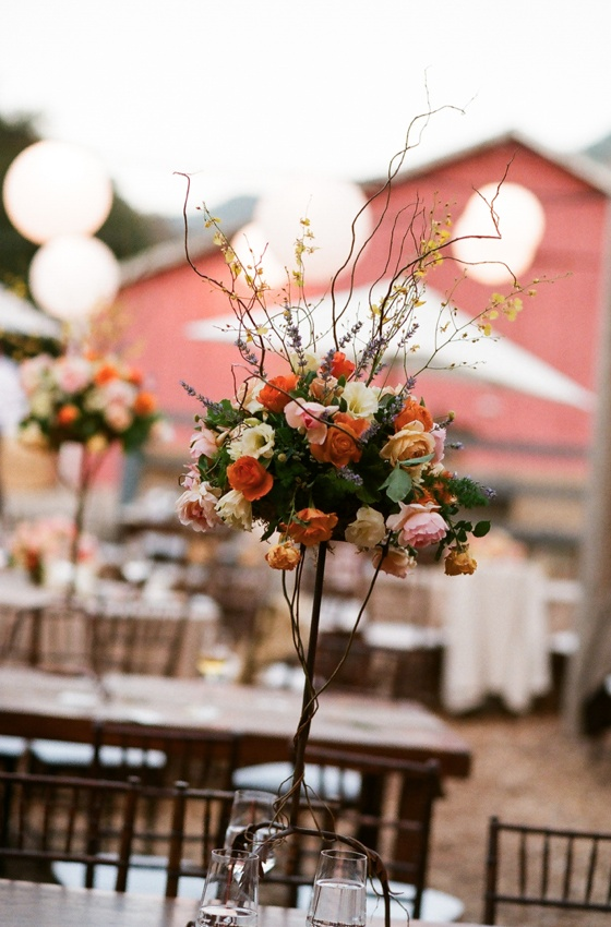 Outdoor Rustic Barn Wedding Flower Centerpiece