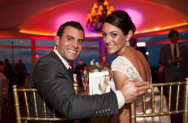 John Colaneri, co-host of Kitchen Cousins, and his bride at reception