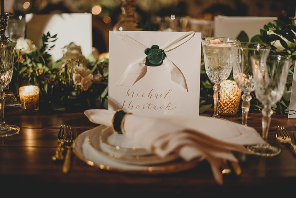 wedding reception custom menu card with wax seal white ribbon gold calligraphy napkin ring emerald