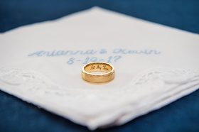 yellow gold men's wedding ring with engraving on the inside