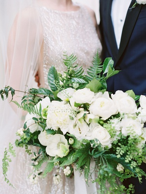 wedding bouquet white flowers anemone peony rose ranunculus greenery ferns leaves organic