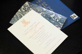 Paisley invite cards and orange monogram