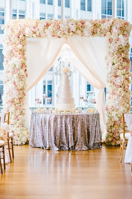Styled shoot with silver sequin round table cake display and silver cake under chuppah