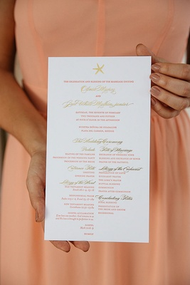 Wedding ceremony program with a starfish, gold and peach print