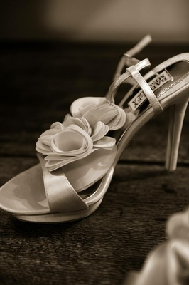 Black and white photo of Badgley Mischka bridal heels