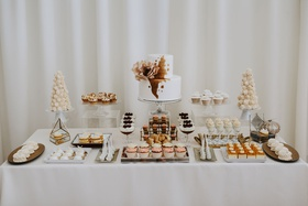 wedding dessert table two layer cake cupcakes meringue cookies sweets table fall colors