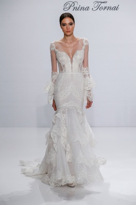 Pnina Tornai for Kleinfeld 2017 Dimensions Collection mermaid wedding dress with lace long sleeves