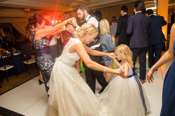 bride flower girl dance floor white dresses sweet precious wedding fun southern california