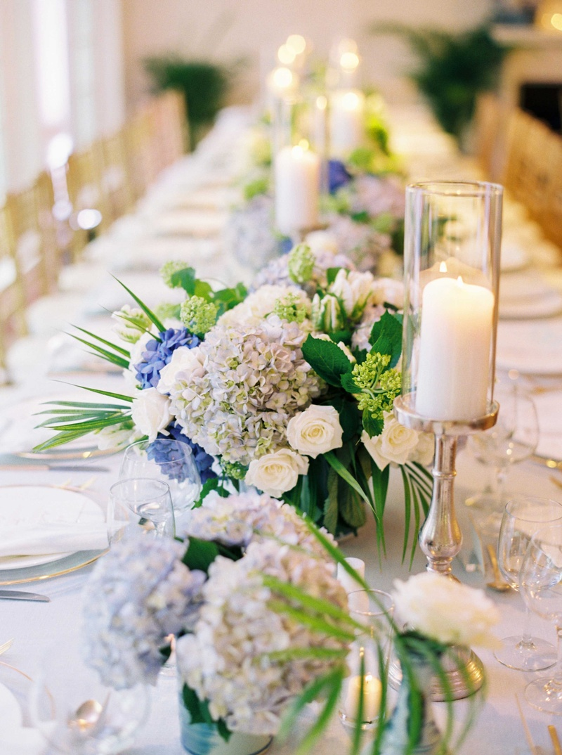 Reception D 233 Cor Photos Blue Hydrangea Floral Runner