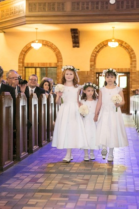 flower girls white dresses flower crowns classic modest roman catholic church wedding ceremony style
