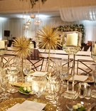 modern wedding reception decorations gold starburst decor candles no flowers crystal stand gold