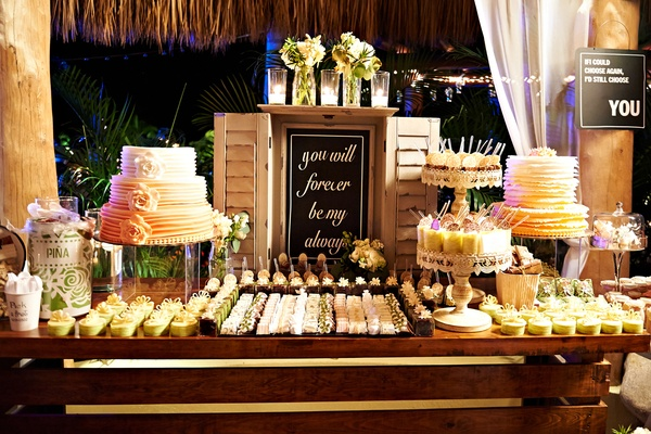Chalkboard sign at outdoor sweets table at wedding reception