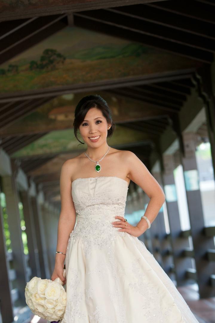 Chinese-American bride in wedding dress