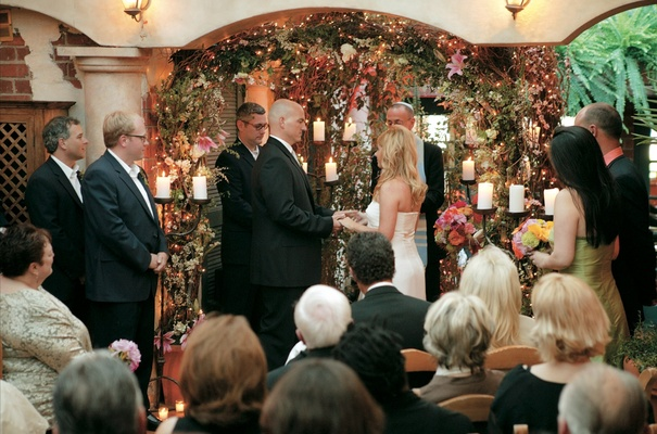 ceremony with twinkling lights and flowers